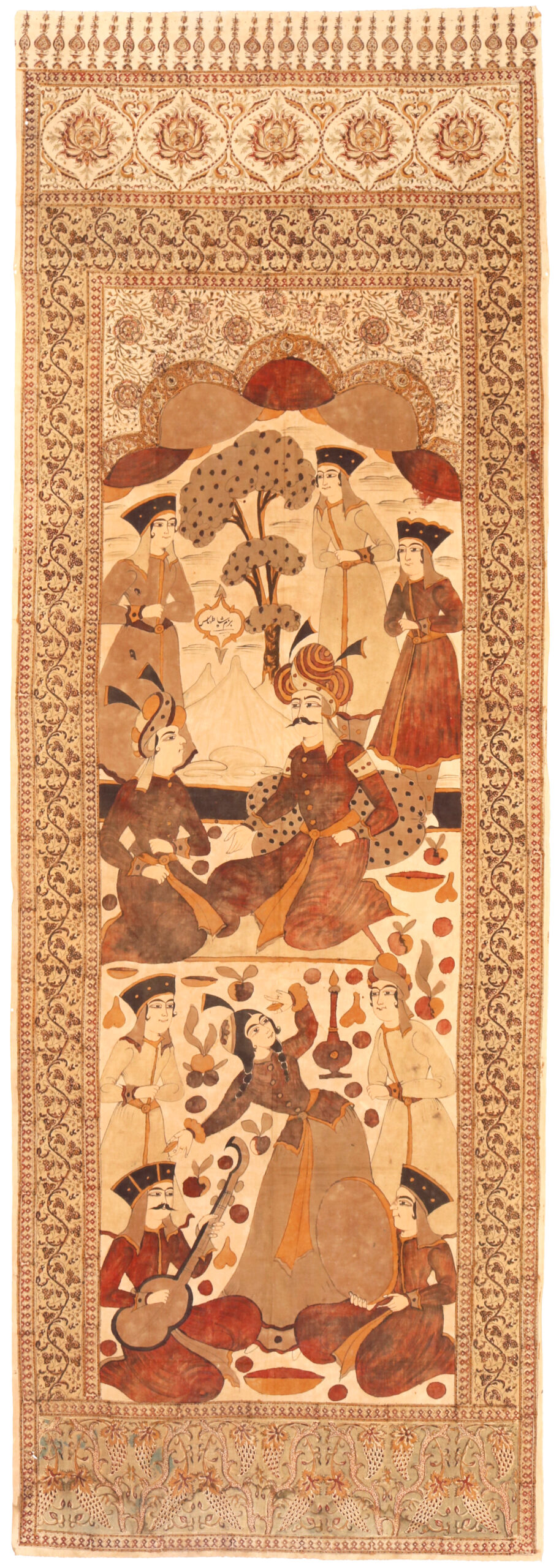 2 Qalamkar hanging, Esfahan, late 19th century. Cotton block-printed and painted with a scene of Shah Tahmasp I receiving the Mughal Emperor Humayun in 1540