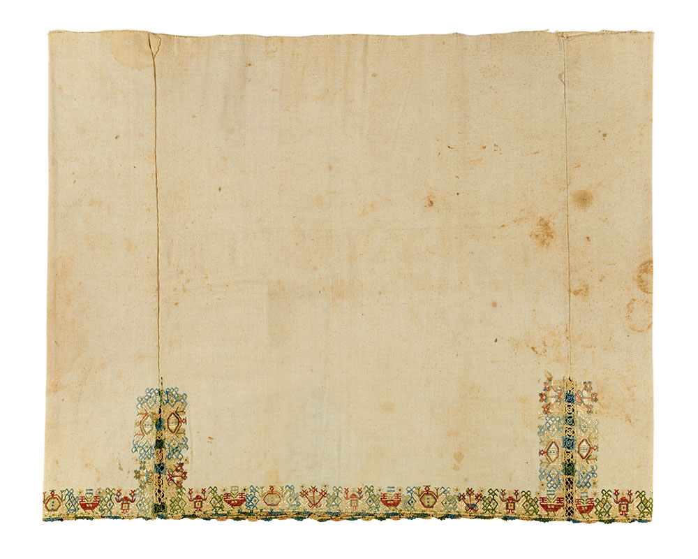 """(3) Chemise skirt border, Southern Cyclades, 18th to 19th century. Silk on cotton, 0.64 x 0.80 m (2' 1"""" x 2' 7""""). Ashmolean Museum of Art and Archaeology, University of Oxford, EA1960.124, Bequeathed by Lady Myres, 1960"""