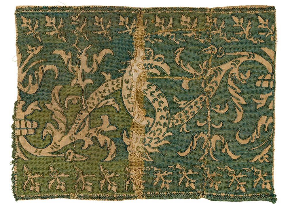 """(5) Fragment of a runner, probably Naxos, Cyclades, or Italy, possibly 18th century. Silk on linen, 25 x 34 cm (10"""" x 1' 1""""). Ashmolean Museum of Art and Archaeology, University of Oxford, EA1960.154, Bequeathed by Lady Myres, 1960"""