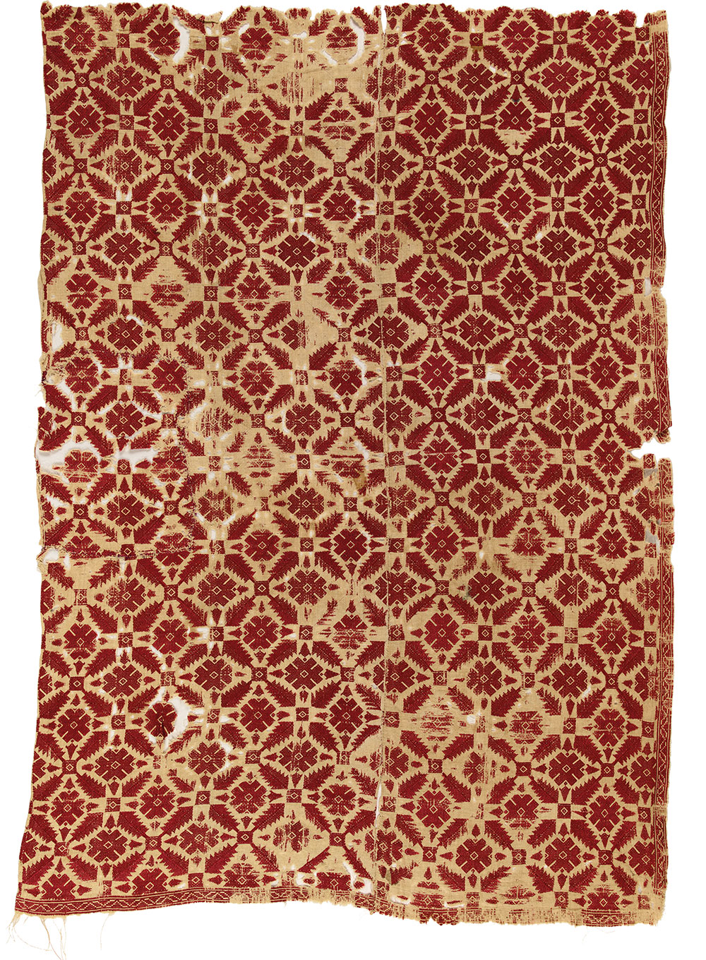 """(8) Section of a bedspread, Naxos, Cyclades, 18th century. Silk on linen, 0.82 x 1.20 m (2' 8"""" x 3' 11""""). Ashmolean Museum of Art and Archaeology, University of Oxford, EA1978.113, Presented by John Buxton, 1978"""