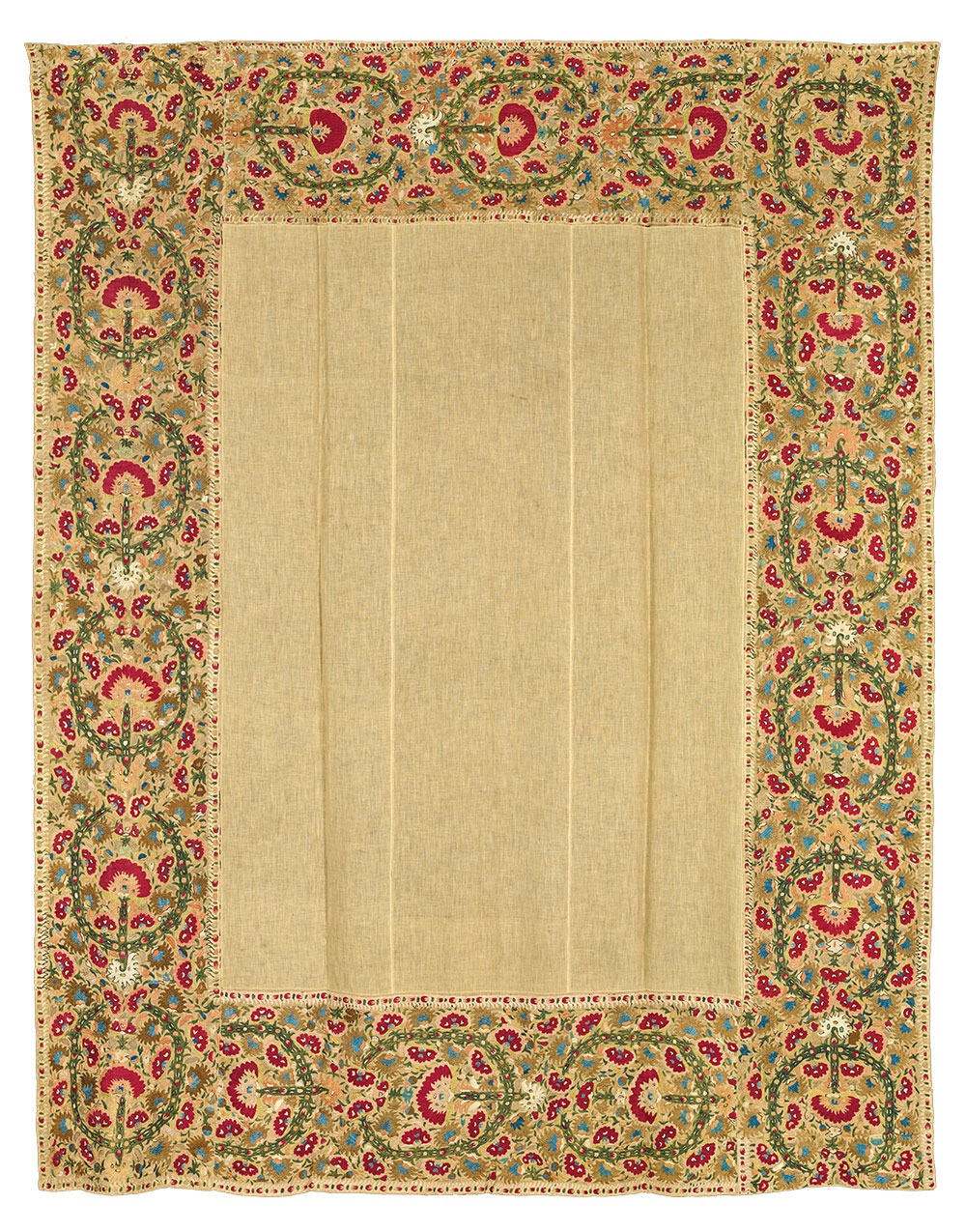 """(6) Bedspread, probably Ioannina, Epirus, 18th century. Silk on linen, 1.82 x 2.18 m (5' 11"""" x 7' 2""""). Ashmolean Museum of Art and Archaeology, University of Oxford, EA1989.211, Presented by John Buxton, 1989"""