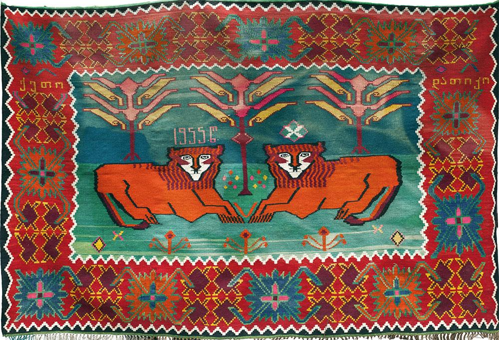 Lion kilim, Kakheti, Georgia, dated 1955