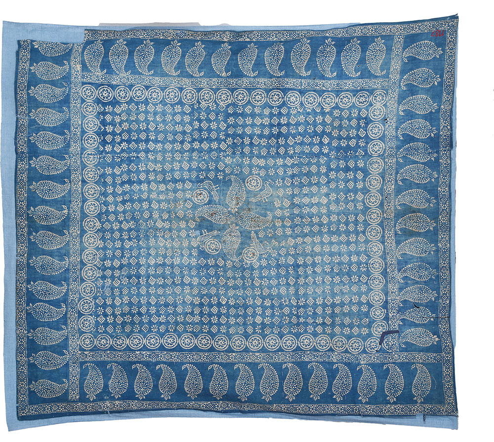 """Blue tablecloth, Georgia, early 19th century. Cotton, indigo, resist dyeing, 1.16 x 1.47 m (3' 10"""" x 4' 10""""). State Museum of Folk and Applied Arts of Georgia"""