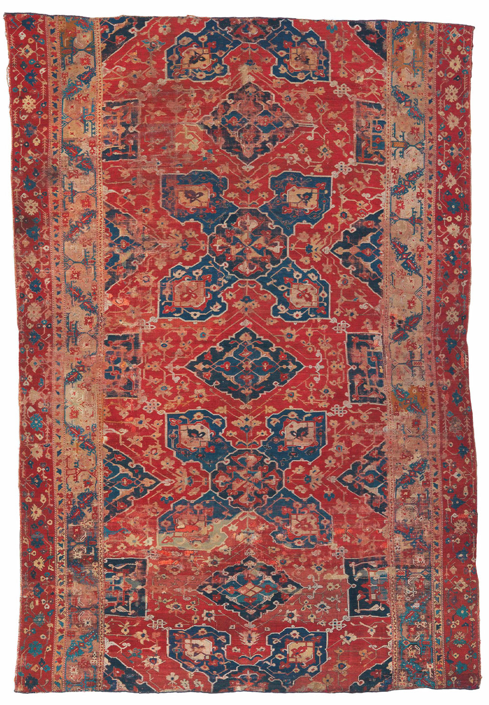 """3 The Lecco Four-Lobed Star Ushak carpet fragment (and border detail), west Anatolia, ca. 1475–1525. Wool pile on a wool foundation, 2.70 x 3.95 m (8' 10"""" x 13' 0""""). Private collection, Italy"""