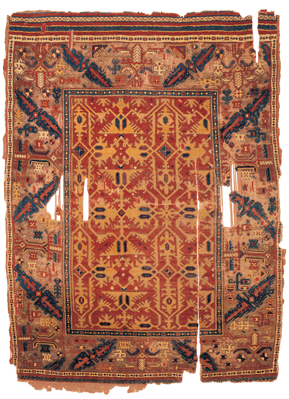 "The Alaeddin Keykubad Lotto rug (and border detail), Ladik region, central Anatolia, ca. 1550–1600. Wool pile on a wool foundation, 1.45 x 1.95 m (4' 9"" x 6' 5""). Museum of Turkish and Islamic Arts, Istanbul, no. 16"