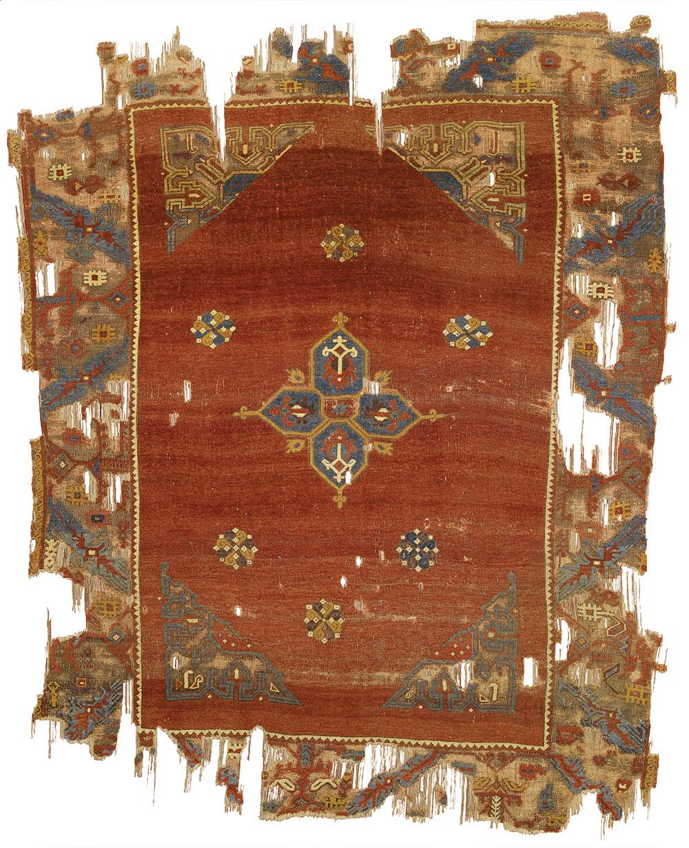 "The Alaeddin Keykubad medallion rug (and border detail), Ladik region, central Anatolia, 1550–1600. Wool pile on a wool foundation, 1.70 x 2.14 m (5' 7"" x 7' 0""). Museum of Turkish and Islamic Arts, Istanbul, no. 410"