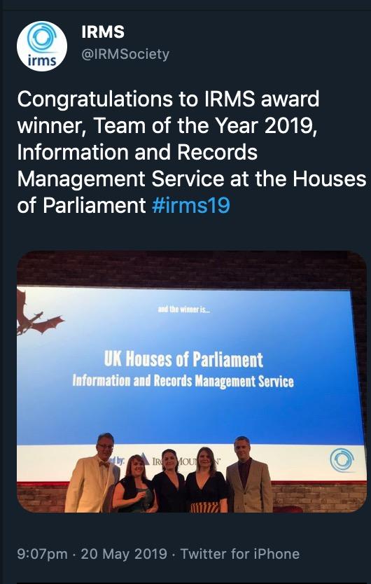 IRMS Tweet about award
