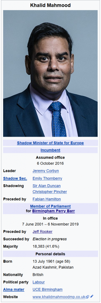 Wikipedia information pane for Khalid Mahmood MP