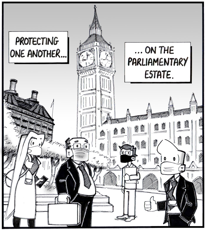 Cartoon showing people wearing masks outside Palace of Westminster