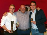Joint Clubmen of the year Ryan Moore and Olly Ward with Wes Kernaghan