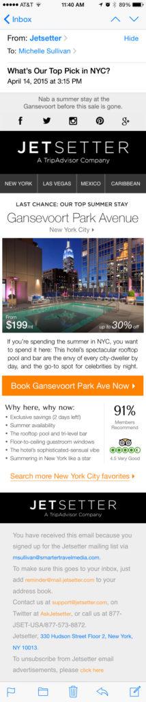 Jetsetter Hotel Highlight Email