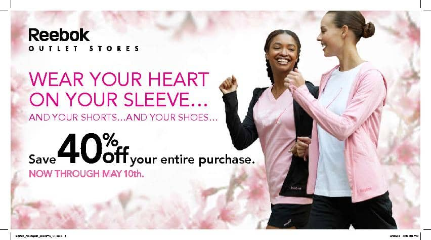 Reebok Outlet Breast Cancer Direct Mail