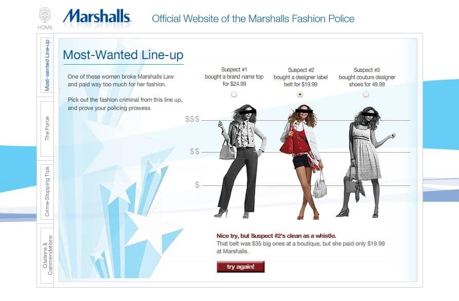 Marshalls Fashion Police Website