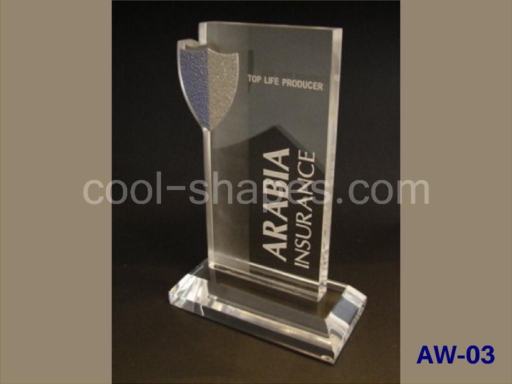 acrylic award ARABIA INSURANCE, trophy SAUDI ARABIA