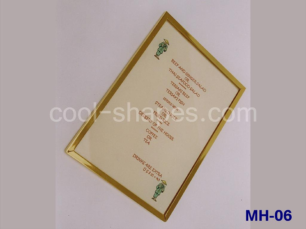 gold plated brass frame, Plexiglas face menu holder KSA