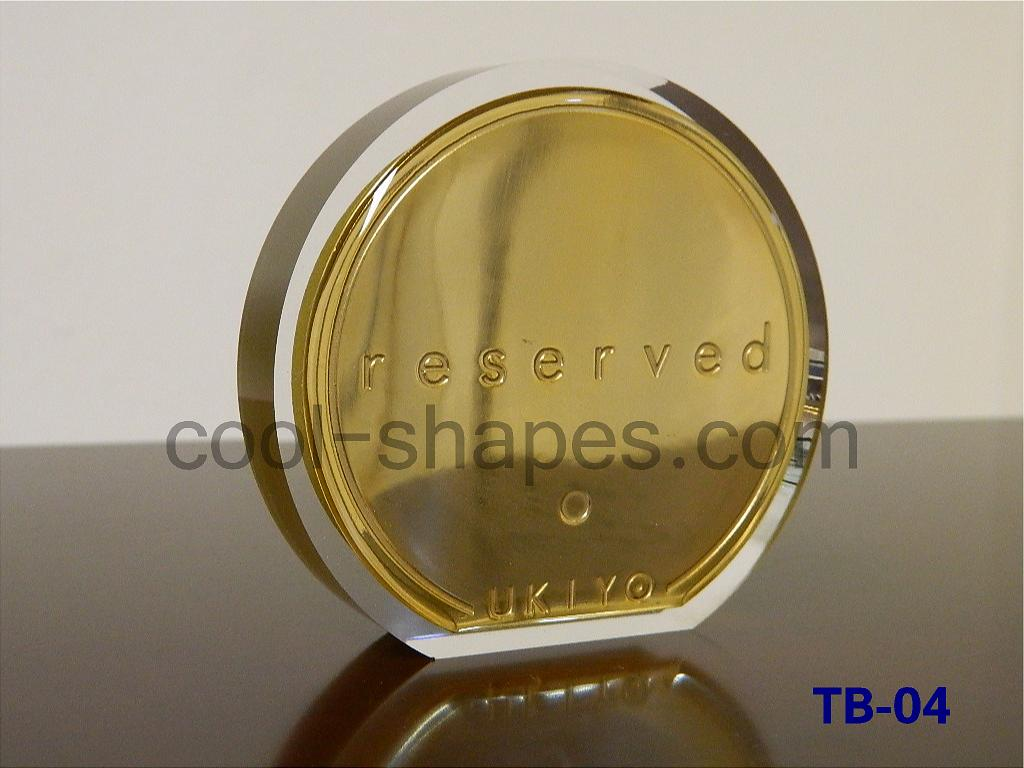table number customized restaurant gold plated Plexiglas, reserved KSA