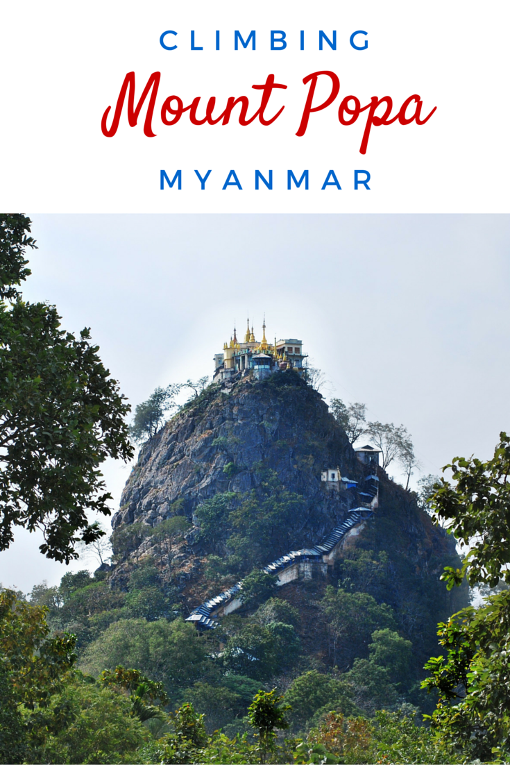 Climbing Mount Popa in Myanmar, surrounded by monkeys!