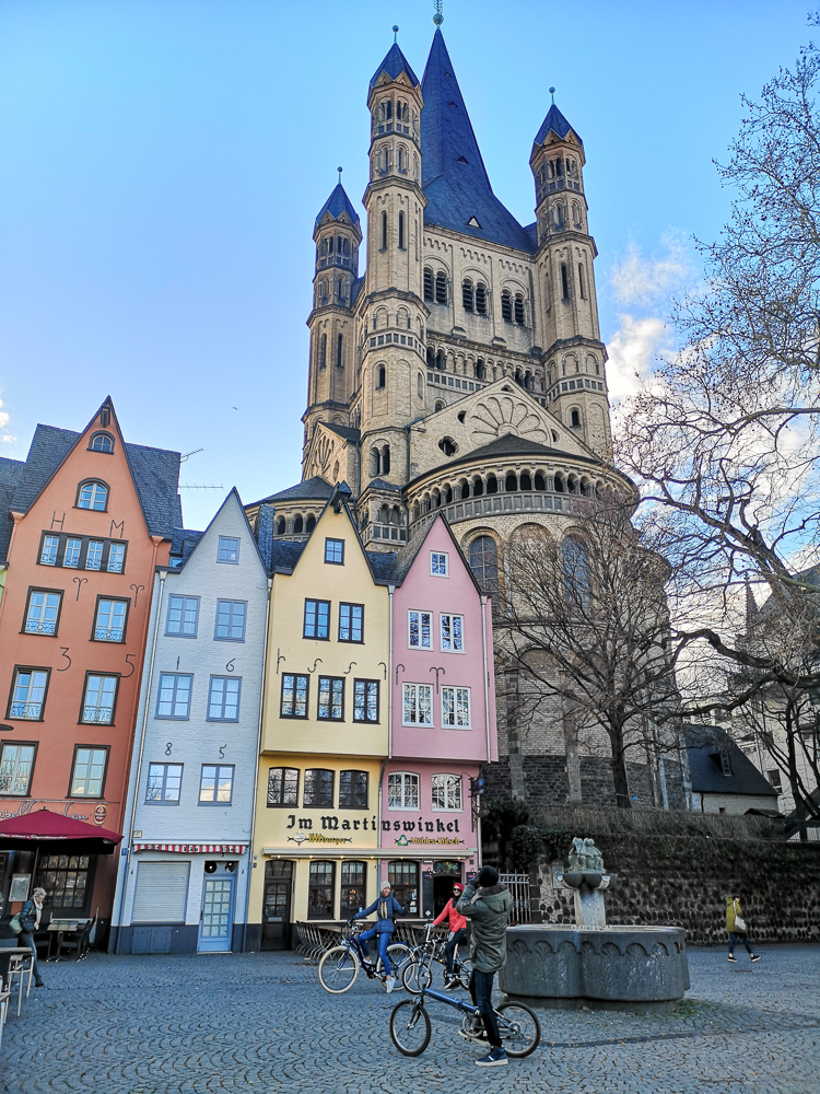 Cologne fish market, colourful houses