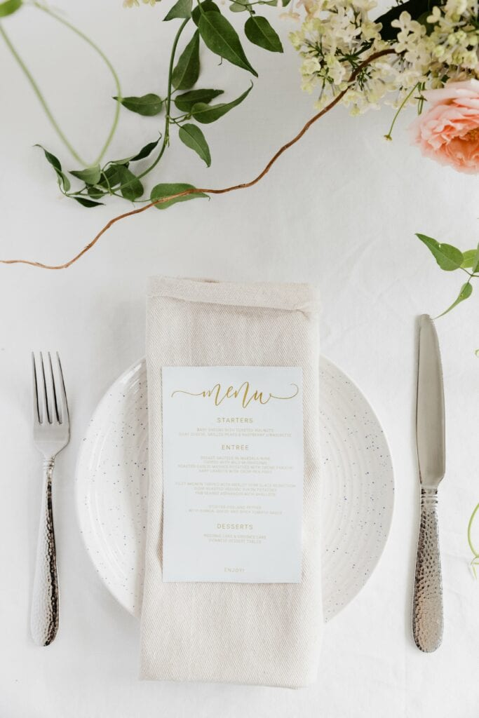 Wedding styling linen napkin
