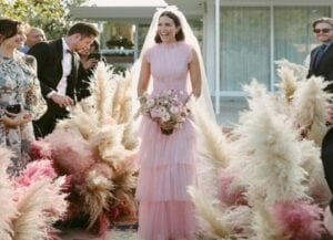 mandy-moore-wedding-pink-dress-pampas-grass