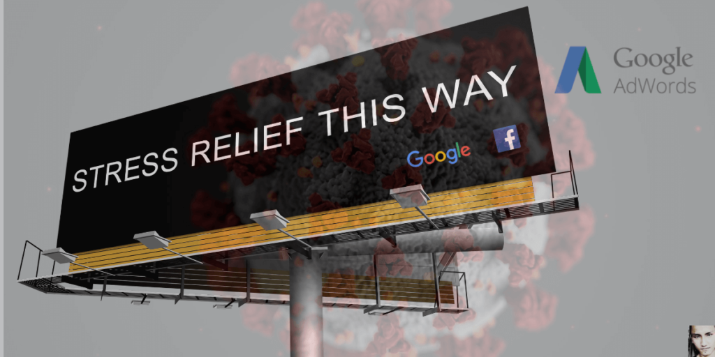 Billboard saying Relief this Way representing relief to marketers in Coronavirus in 2020 with image of Anoop Yersong