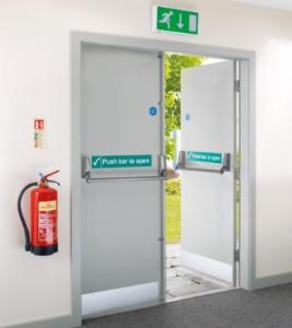 Push to open fire doors
