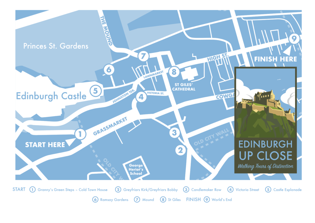 Walking tour map of Edinburgh Old Town