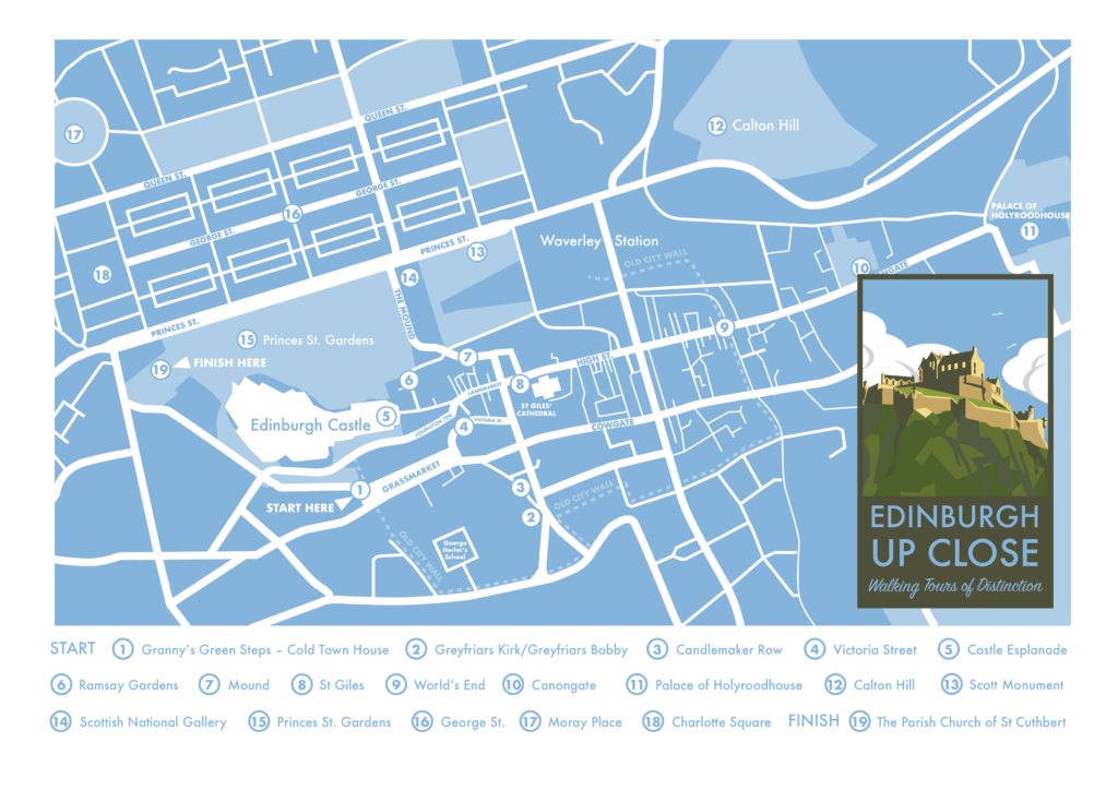 Edinburgh Up Close Walking Tour map