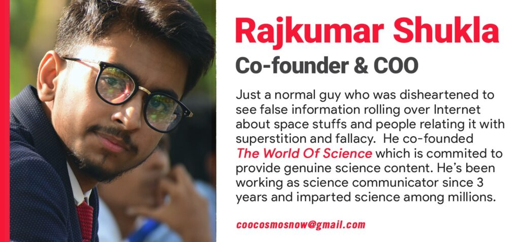 Photograph of Rajkumar Shukla, Co-founder, COO & EIC of India's First Independent Astronomy Magazine- CosmosNow.