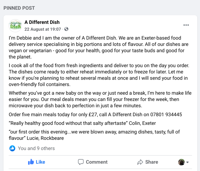 Facebook 'About Us' section for a food delivery service