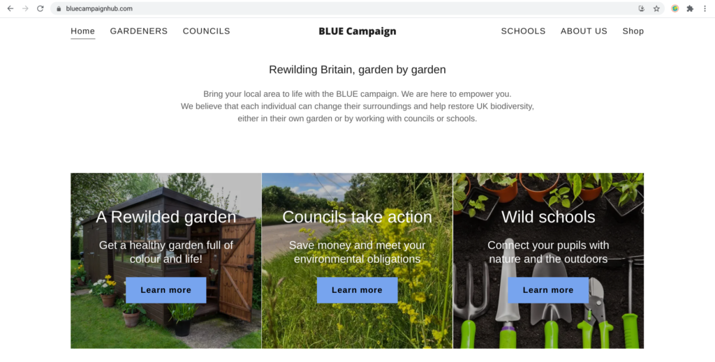 The Blue campaign homepage