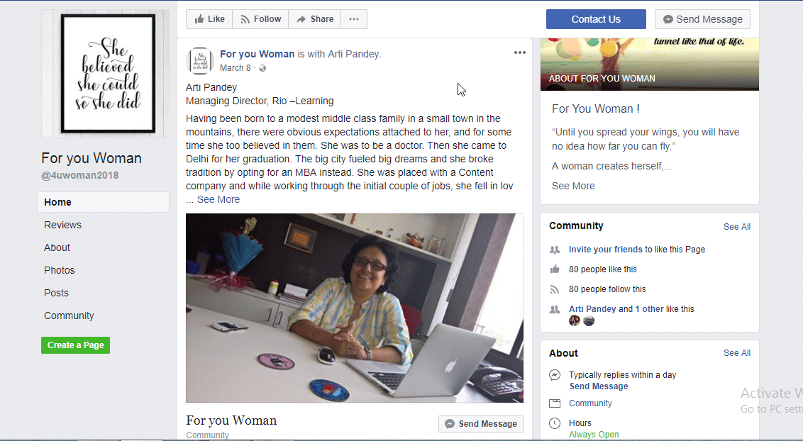 Featured in ``For you Woman`` Facebook Community