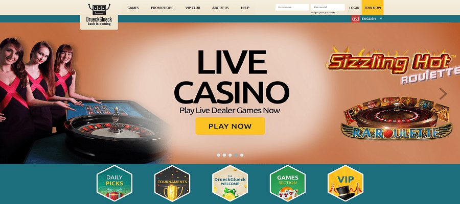 Live Casino and Slot Games at DrueckGlueck Casino