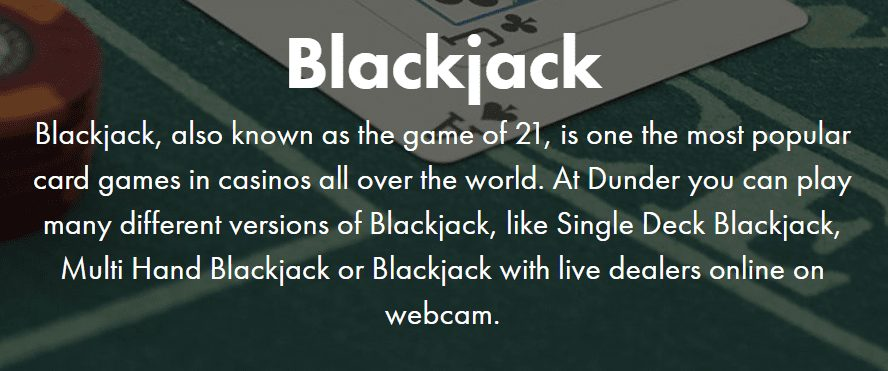 Play Blackjack With Dunder