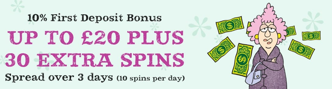 10% 1st Deposit Bonus + 30 Extra Spins at Aunty Acid