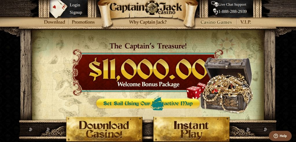 Captain Jack Online Casino Slots Offer Up To $11,000 worth of Bonuses on your First 9 Deposits