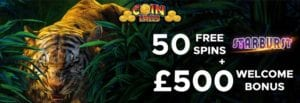 Get up To 50 Bonus Spins at Coin Falls Casino
