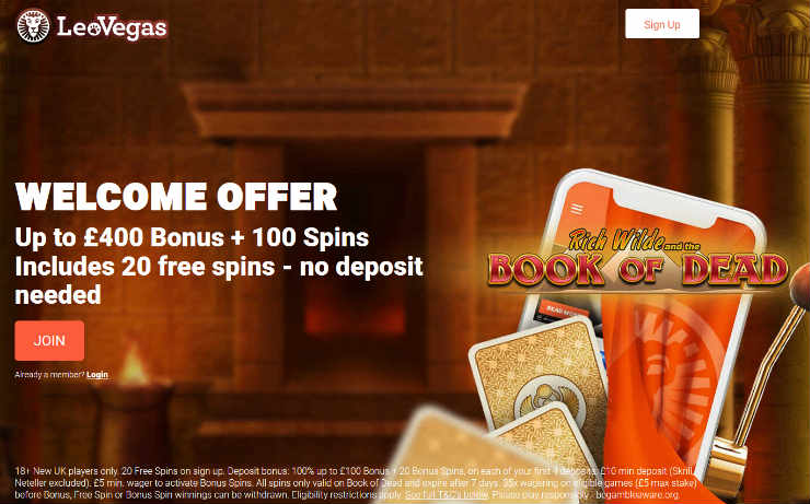 LeoVegas up to £400 Welcome Deal
