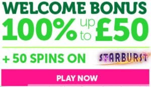 Get 100% Welcome Bonus Upto £50!