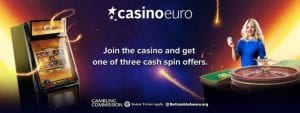 CasinoEuro Promotional Offer Banner Free Cash Spins