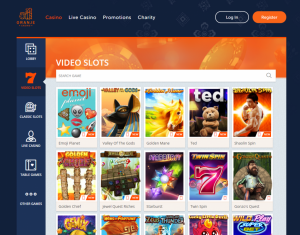 Oranje Casino Online Gaming Lobby of Slots Games