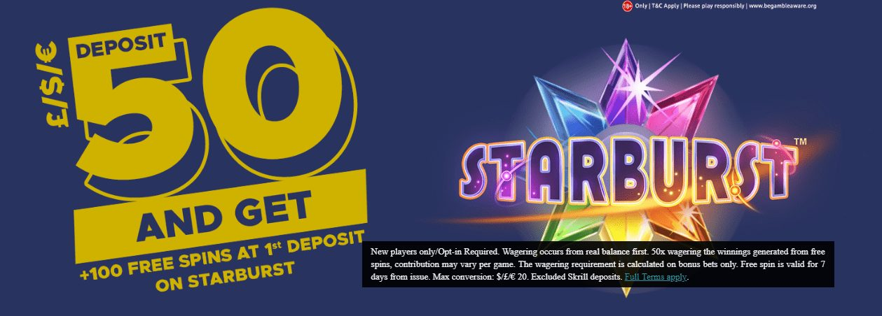 Deposit £50 and Get 100+ Free Spins