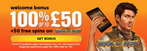 100% Up to £50 Welcome Bonus Offer at WildSlots Casino