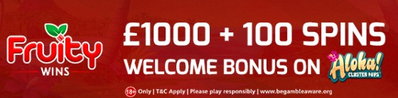 £1000 Welcome Bonus at Fruity Wins Casino