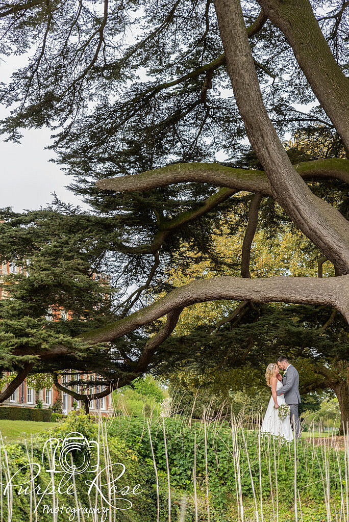 Bride and groom in Chicheley Halls gardens