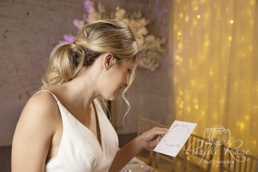 Bride reading her menu