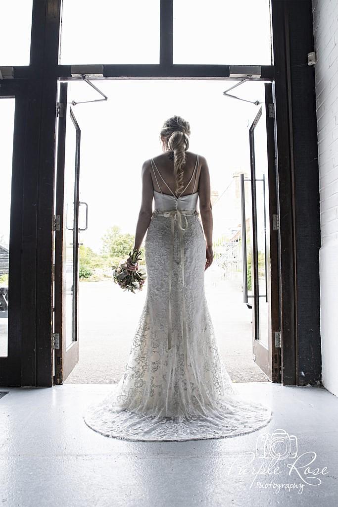 Details of the back of brides dress