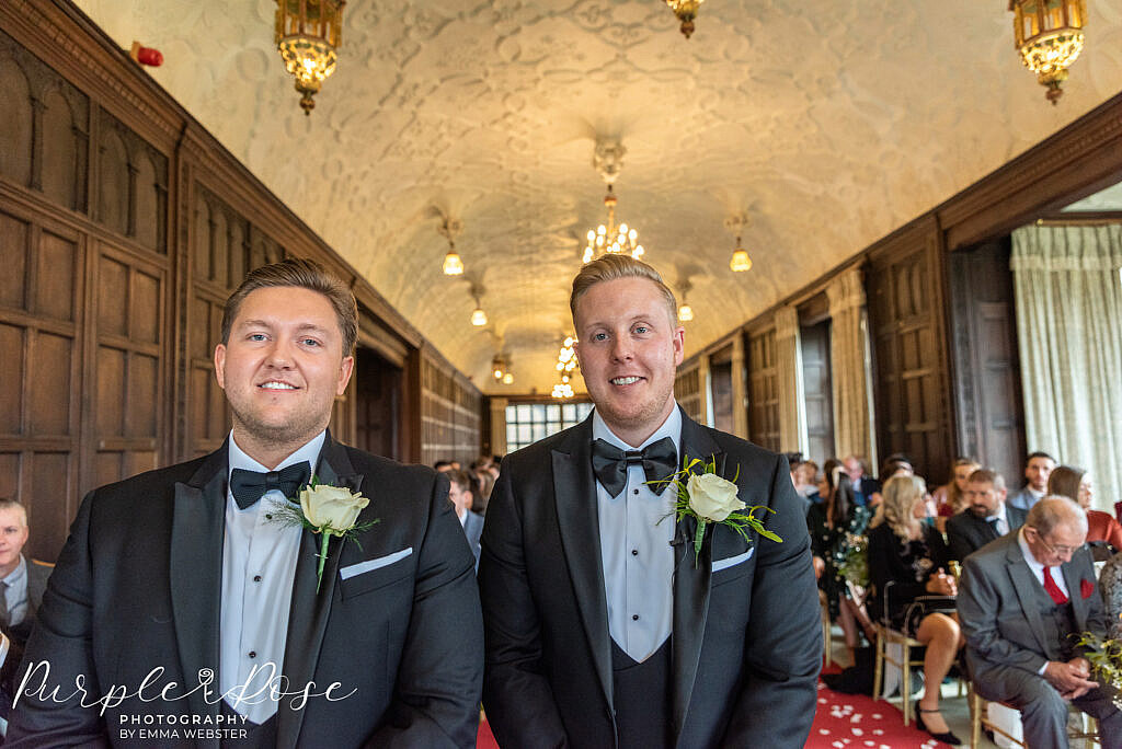 Groom and best man waiting for the wedding ceremony to start