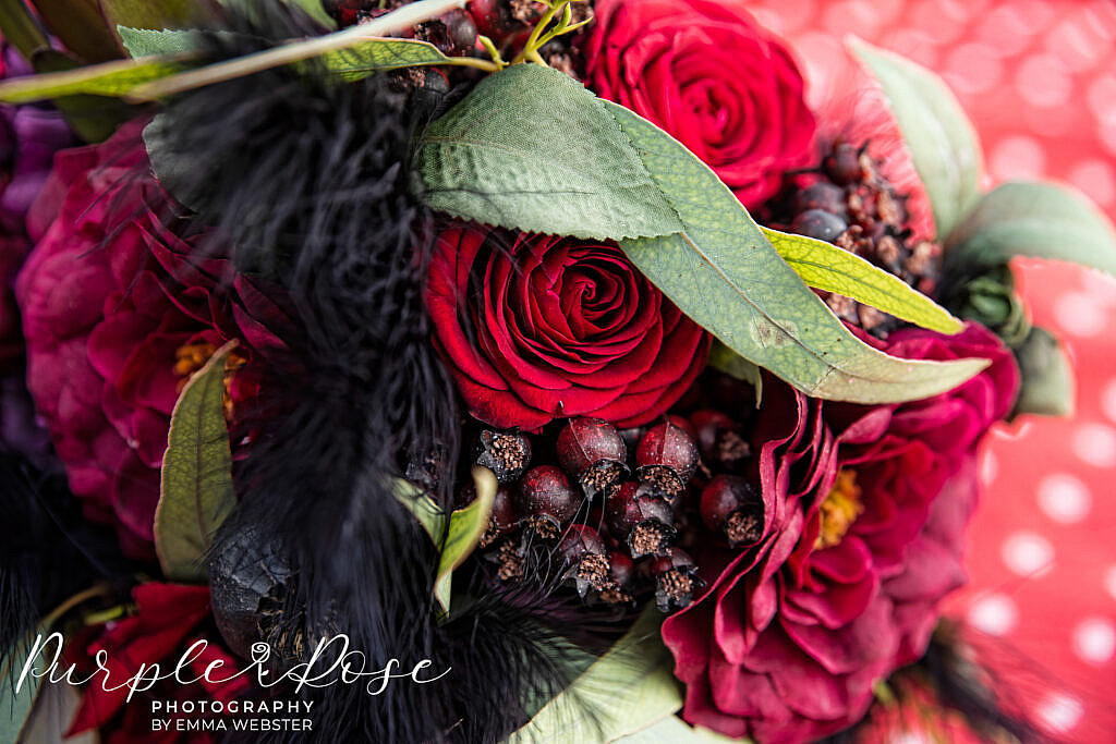 Close up of a black and red bouquet