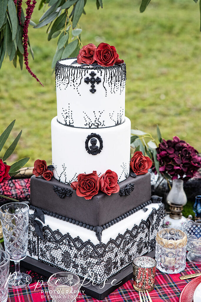 Gothic black, red and white wedding cake